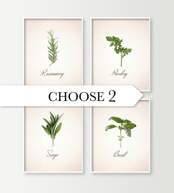 Https Www Etsy Com Listing 192052972 Kitchen Wall Decor Choose 2 Herbs