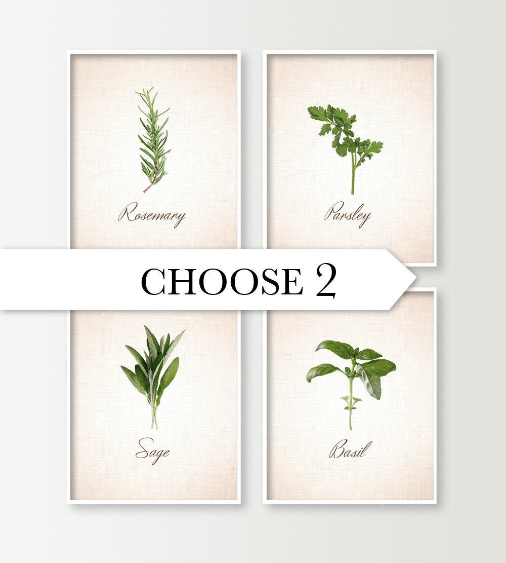 Kitchen Wall Decor Choose 2 Herbs Kitchen Art By