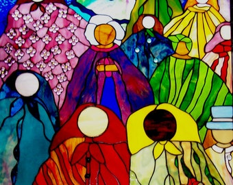 "Stained Glass Window Panel ""After Many Strong and Beautiful Women,"" Colorful, Ethnic, World Love, Women United Art , Sisterhood, Friendship"