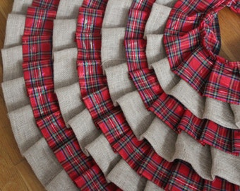 Ready to ship - Burlap and Plaid Ruffled Christmas Tree Skirt