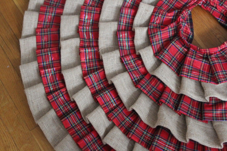SALE Burlap and Plaid Ruffled Christmas Tree Skirt by SPCrafty