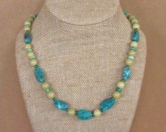 Turquoise and  Olive New 'Jade' Gemstone/Stone with Vintage Czech Glass Bead OOAK Necklace by MtnGlen - 'Friendship Sparkle'