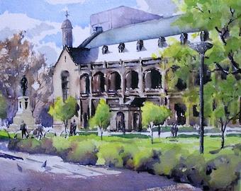 "Original watercolour painting ""Winter Light, Bonython Hall, Adelaide"""