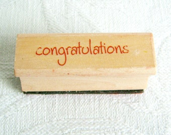 Congratulations Rubber Stamp, Used