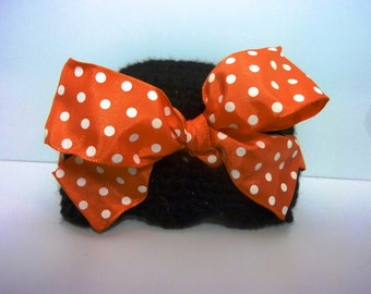 "Beanie with Bow, ""Halloween Polka Dots"""