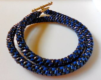 Woven Double Wrap Plastic Bracelet, Mixed Colors, Families- Blues and Greens