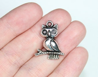 6 Antique Silver Owl Branch Charms Style 1