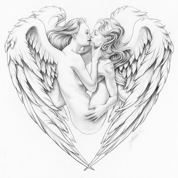 Candy Kisses Drawing Angels Kissing in Heart