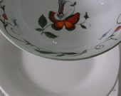 Garden Party with butterflies,ladybugs,dragonflies on folage Tea Stand/Cake Tray/Serving Tray. Mid. plate square (6)