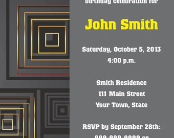 Gold and Gray Squares Invite