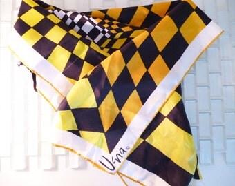 Checked Yellow Black White Scarf VERA Japan Geometric