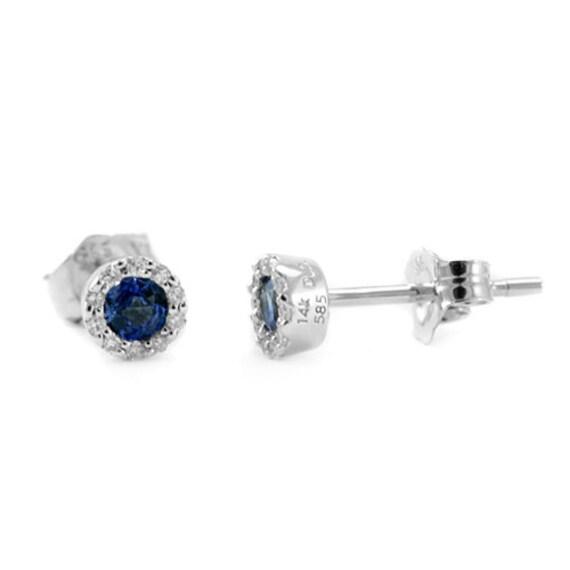 blue sapphire diamond halo stud earrings 14k white gold. Black Bedroom Furniture Sets. Home Design Ideas