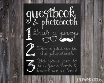 Photobooth & Guestbook Chalkboard Sign 8x10- Instant Download