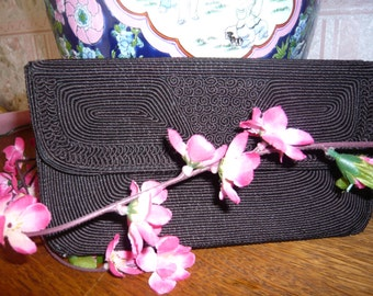 Vintage Chocolate Brown Corded Clutch Purse 1940s to 1950s Envelope Style