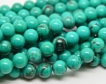 "16""  Natural  Green  Turquoise   Gemstone  Beads Bead --- 8mm"