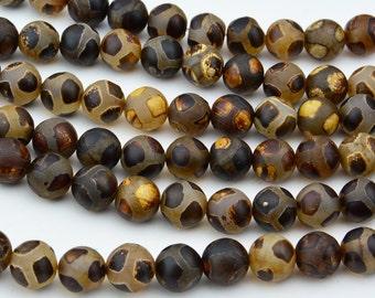 """14.5""""   Tibetan  Agate dZi  beads  round  bead  --10mm"""