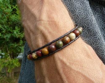 Picasso Jasper Gemstone Leather Wrap Bracelet. Brown Bracelet. Gemstone Bracelet. Men's Bracelet. Healing Crystal Bracelet.