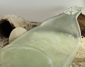 Frosted Clear Large Wine Bottle Flattened Melted bottle Slumped Recycled with swirled aluminum wire decor BS 116*