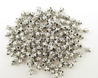150pcs 3.5mm Pewter Dotted End Spacer Silver Plated Beads (F911)