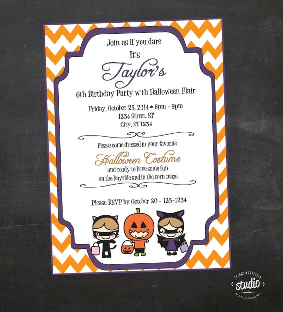 Halloween Birthday Party Invite Kids Costume Custom Printable Invitation