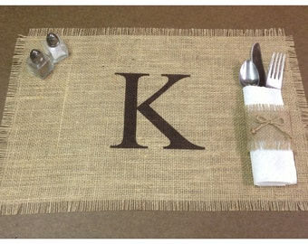 """Burlap Placemats 12"""" x 18"""" with monogram - Monogrammed placemats Holiday decorating Home decor"""