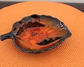 Vintage California Pottery Black & Orange Leaf Ashtray