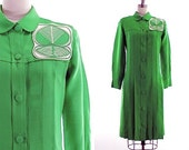 vintage 60s green dress / pleated button front dress / Lydia de Roma shirt dress M