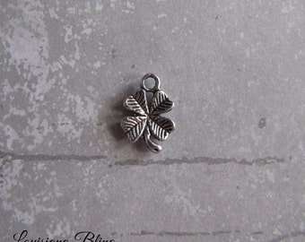 12 Pieces 4 Leaf Clover Pendant Charm 15x11mm Antique Silver Finish, Silver Shamrock charms, 1-7-S