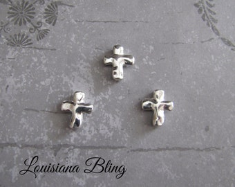 20 Pieces Hammered Cross Bead Double Sided 13x11mm, Hammered Cross Beads, Silver Finish 16-6-S