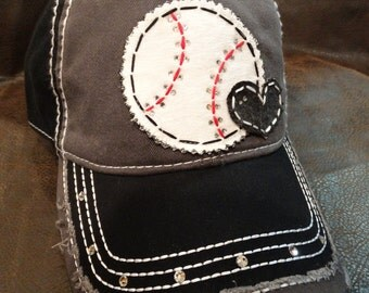 Baseball love distressed baseball hat