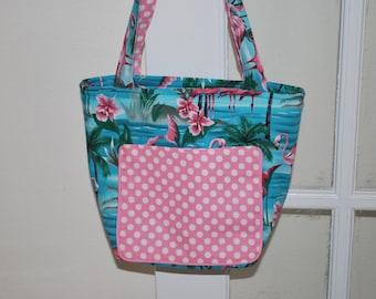 Flamingo Print Zippered Bag Purse
