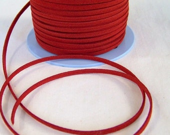 Red Faux Suede 20 Feet USA Seller