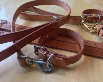 """Hermann Oak Russet Harness Leather 10 to12 ounce custom Amish made Leash (or """"Lead"""") and Collar Set for Dog"""