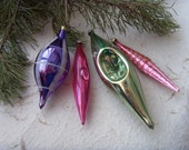 Set of 4 Soviet Vintage Multicoloured Christmas Icicles Made in USSR in 1970s.