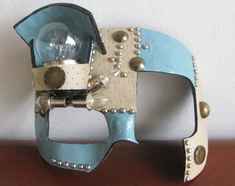 Steampunk Masquerade Mask, Baby Blue Leather, Beige Leather, Lightbulbs - The Mad Medic