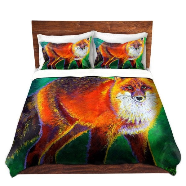 Colorful Red Fox Duvet Cover Bedding Set By
