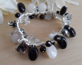 Black, White and Clear Spiral Bracelet