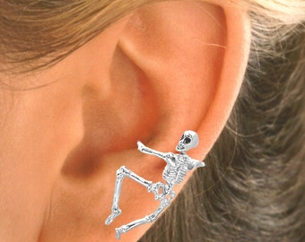 Skeleton Ear Cuff in Sterling Silver or Gold Vermeil - ® Sandra Callisto / Ear Charms #79-