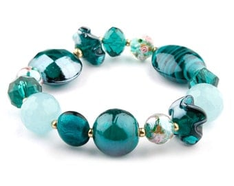 Teal Murano Glass Stretchy Beaded Fashion Bracelet