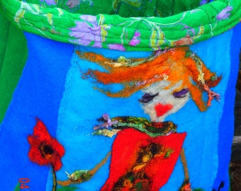 large blue sewn bag with humorous girl, poppy and lady-bug applique / made to order