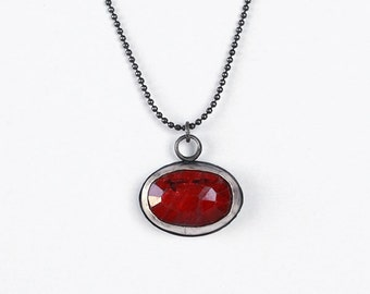 Ruby silver necklace ,oxidized silver necklace,red pendant