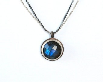 Silver necklace with labradorite,oxidized silver necklace blue pendant