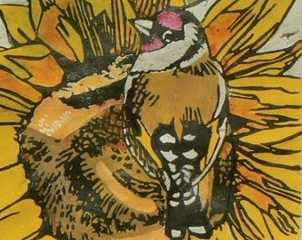 Goldfinches on Sunflowers linocut print