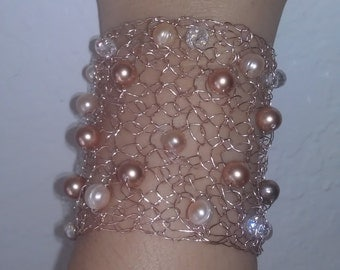 Rose Gold Swarovski pearls bracelet Elegant Pearls bracelet. Fashion rose gold arm cuff Wedding Bridal  cuff, bracelet Statement bracelet.