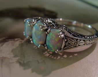 Lovely Sterling Silver Opal  3 stone filigree  Ring  Size 6.75