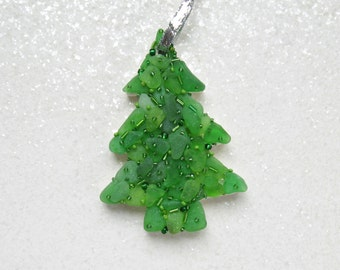 Christmas Seaglass  Tree Mosaic Handcrafted Ornament sparkly beads