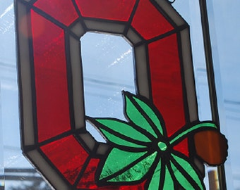 Stained glass Ohio State Buckeye sun catcher/ wall hanging home/ dorm decor
