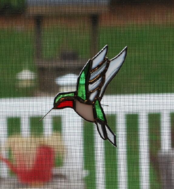 Stained Glass Hummingbird Screen Hanger Suncatcher