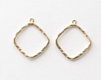 3211014 / Rhombus / 16k Matt Gold Plated Brass Pendant 22mm x 24mm / 0.7g / 2pcs