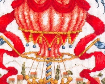 Stitch World Balloon Over Tuscany Whimsical Red Hot Air Balloon Counted Cross Stitch Pattern